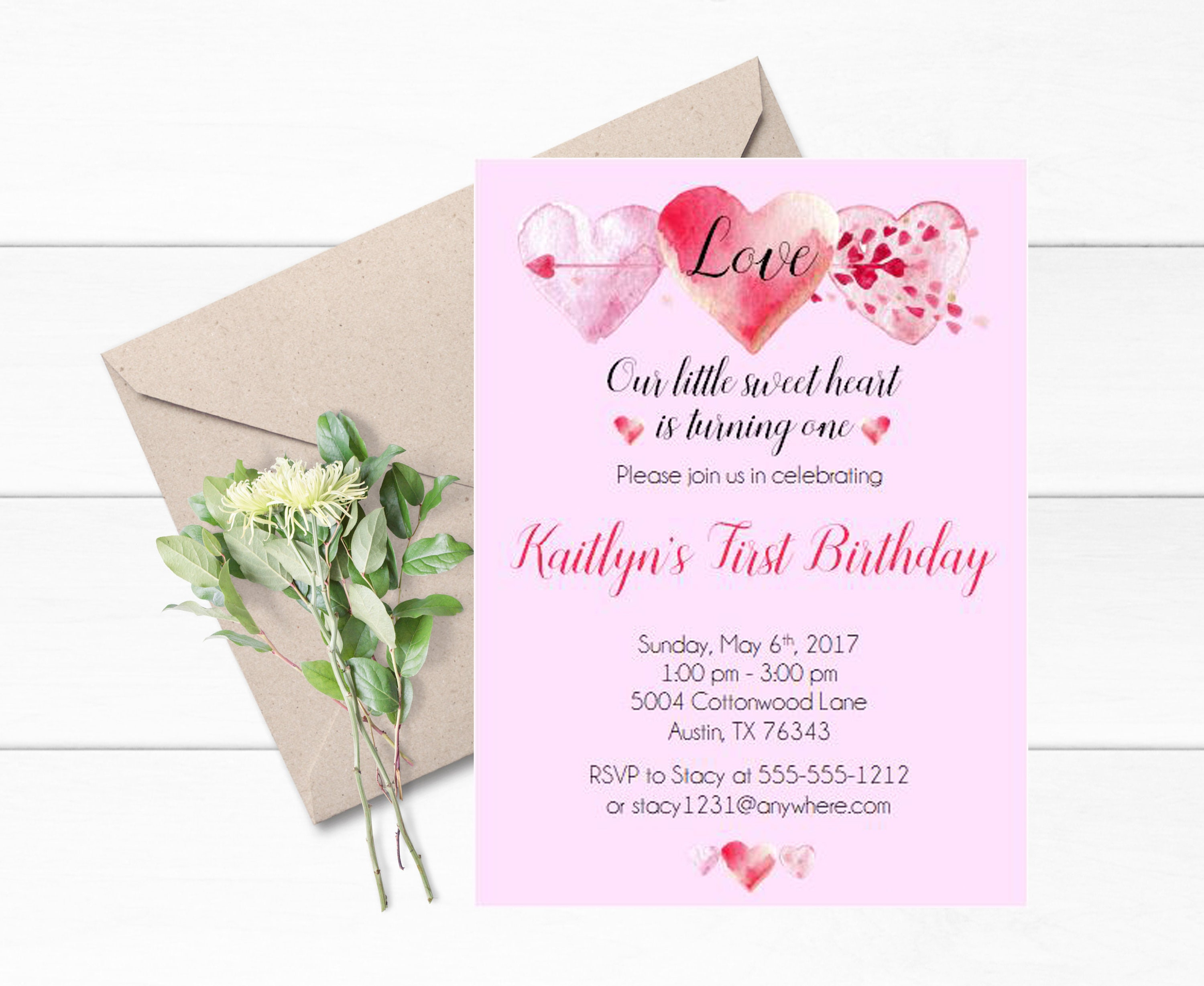 Valentine First Birthday Invitations Set Of 12 Theme Watercolor Hearts Heart Themed Party 1st Modern Invite