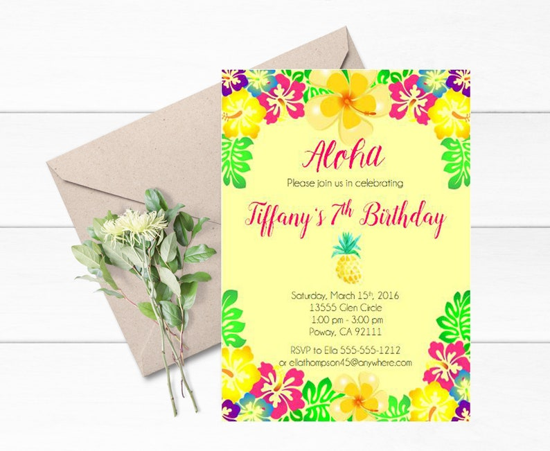 Aloha Birthday Invitations Set Of 12 Hawaiian Birthday Invitation Tropical Themed Birthday Hawaiian Tropical Invite Floral Birthday