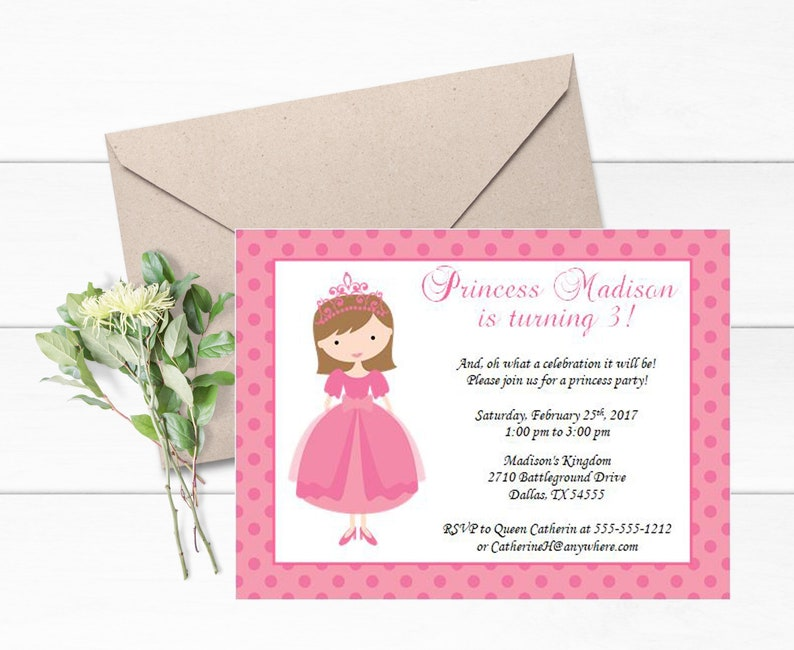 Pink Princess Invitations Set Of 12 Themed Party Royal Invite Birthday