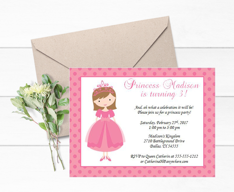 Pink Princess Invitations Set Of 12 Themed Party Royal Invite Birthday