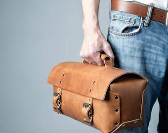 Men's Work Bag, Men's Briefcase, Leather Work Bag, Leather Duffel Bag, Leather gear bag 241