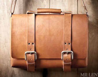 Leather Bag, Men's Leather Bag, Leather Briefcase, Leather Shoulder Bag, Men's Bag, Shoulder Bag, Leather Satchel 215