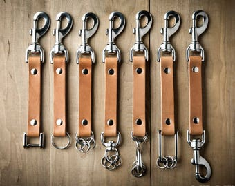 Custom Keychain, Personalized Leather Keychain, clip leather keychain, Personalized leather key fob  008