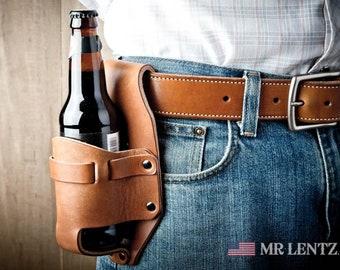 Leather Beer Holster, western holster, groomsmen gift, beer pouch 073