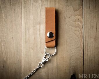 Leather Chain Attachment for Chain Wallets, Leather Chain Strap, Leather Belt Attachment 009