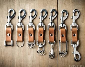 Leather Keychain, custom keychain, key fob, mini key clip, clip leather keychain, Personalized leather key fob  091
