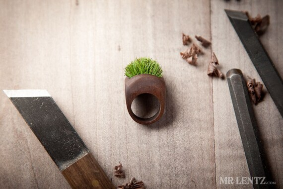 Items similar to Wood Ring With Grass Handmade Eco Friendly Forest Jewelry 002 on Etsy
