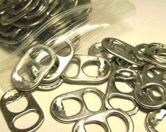 100 Pop Can Tabs - Aluminum Soda Bottle Tabs for Jewelry Crafts - Blanks - Silver Color