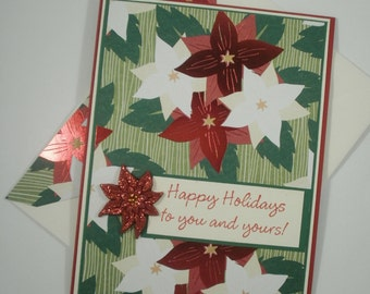 Christmas cards handmade etsy christmas cards handmade christmas cards christmas card set set of 8 stationery poinsettia cards christmas floral cards flowers m4hsunfo