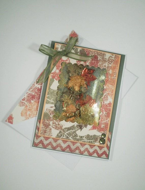Thanksgiving Shaker Card, Handmade Thanksgiving Card, Thanksgiving Card, Fall, Leaves, Thanksgiving, Autumn Card, Holiday Card