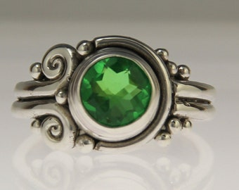 Sterling Silver Green Quartz Ring/ Green Quartz Doublet/ Green Gemstone Ring/ One of a Kind Ring/ Unique Quartz Ring/ Bezel Set Ring/ R1192