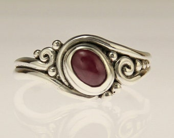 Sterling Silver Ruby Cabochon Ring/ One of a Kind Ruby Ring/ July Birthstone Ring/ Handmade Ruby Ring/ Unique Ruby Ring/ Bezel set Ruby Ring