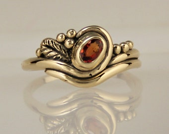 Orange Sapphire Ring/ Padparadscha Sapphire/ Gold Ring/ Bezel Set/ One of a kind/ Handmade/ Leaf/ Unique/ Denim and Diamonds Jewelry/ R1214