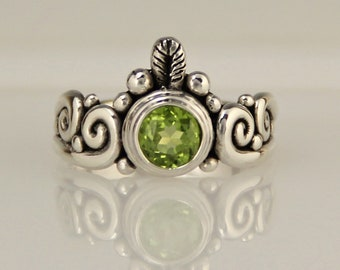 Silver Peridot Ring/ Scroll Ring/ August Birthstone/ Green Gemstone/ One of a Kind/ Handmade Ring/ Bezel Set/ Faceted Peridot/ Swirls