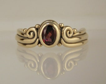 Garnet Ring/ Gold Garnet Ring/ Rhodolite Garnet/ Bezel Set/ Scrolls/ Swirls/ Oval Garnet/ January Birthstone/ Mothers ring/ One of a Kind