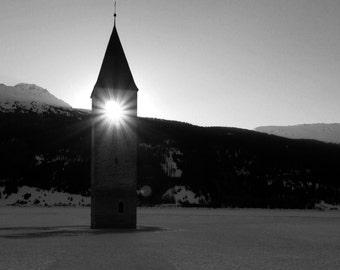 Limited edition - Sunset, submerged church, Graun im Vinschgau, South Tyrol, Italy
