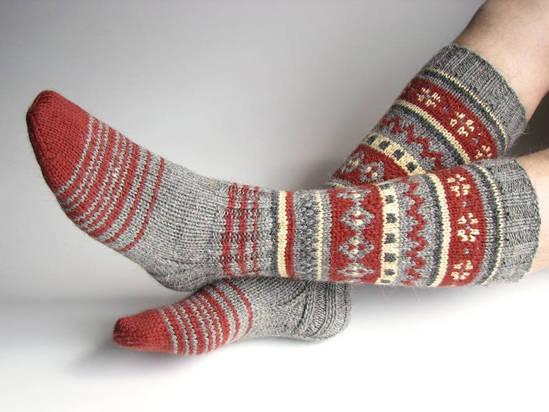 26ce2f62185 Fancy Christmas stockings Men colorful Fair Isle hand knitted
