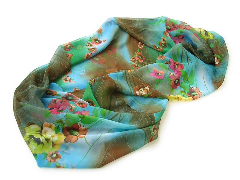 Fashion Fall Accessories Bright Neck Wrap Warmer Women Floral Print Silky Chiffon Infinity Scarf Anniversary Birthday Gift for Girlfriend