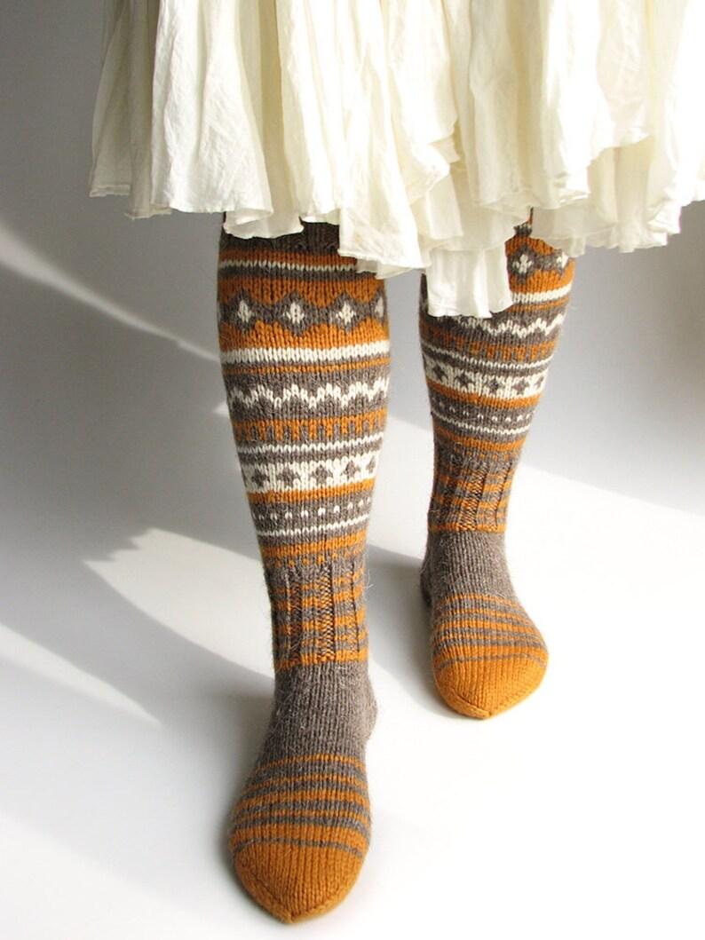 7279686b32e Fair Isle knee high long wool boot socks Colorful hand knitted