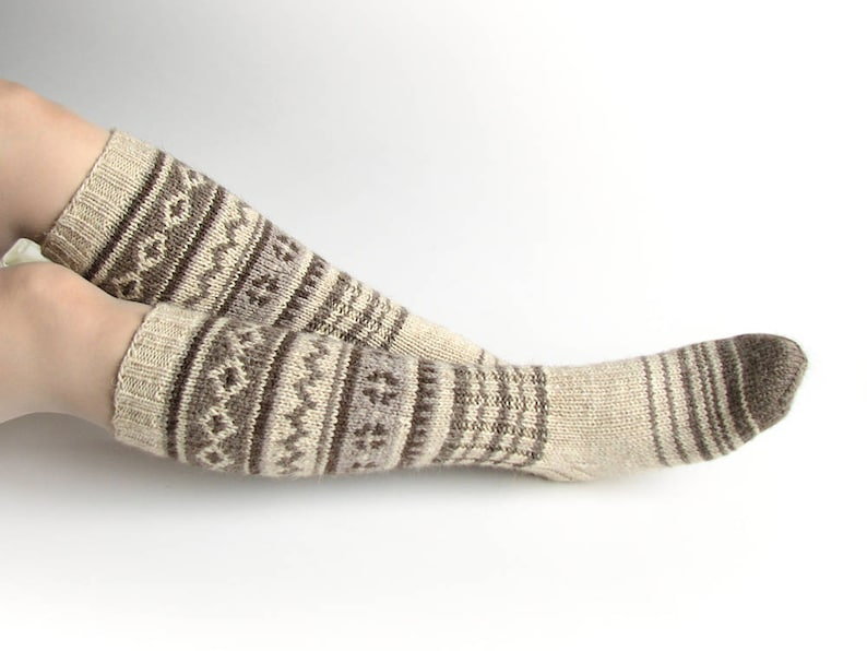 46729e0fe4f Organic woolen knee high hand knitted long socks clothing