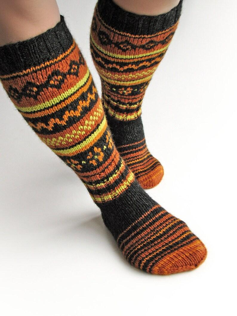 be3508c1b6d Fair Isle Scandinavian Christmas gift stockings Knee high long