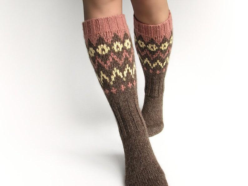 f248c8398 Knee high warm winter 100% wool socks Christmas stockings