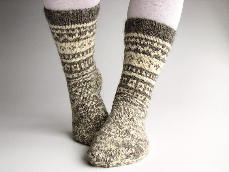 9fe7a1e821e Women Fair Isle high hand knitted socks Organic woolen