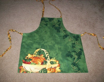 Autumn Harvest Bib Apron in Green with Pumpkins and Vines