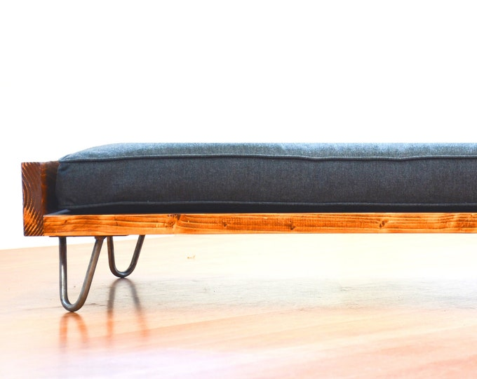 Featured listing image: Dog Bed Mid Century Modern Design Solid Wood On Hairpin Legs With Gray Cushion