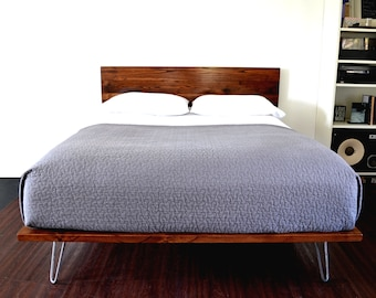 Platform Bed With Headboard On Hairpin Legs RESERVED FOR CCHARMY