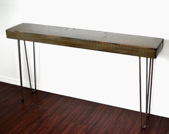 Console Table Salvaged Wood Reclaimed Industrial Factory Beam On Hairpin Legs Unique Patina