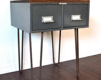 Side Table or Nightstand Vintage File Box With Wood Topper On Hairpin Legs SALE ITEM