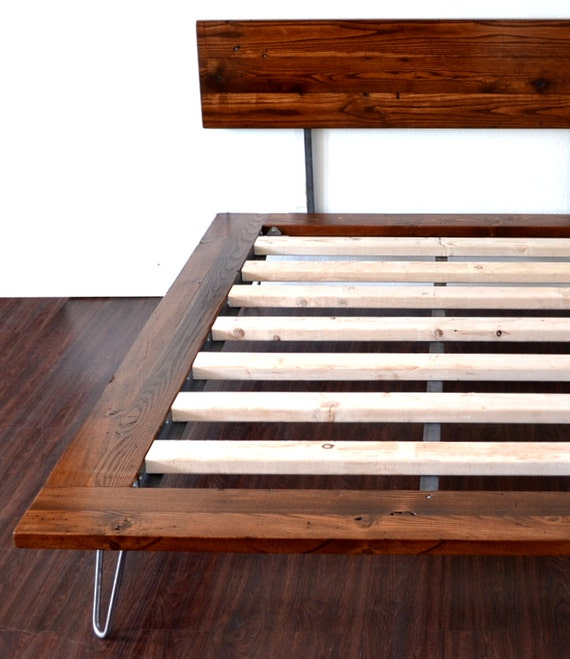 Platform Bed With Headboard On Hairpin Legs Reserved For Etsy
