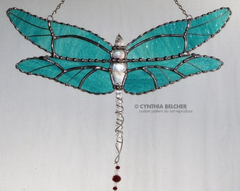 Stained Glass Suncatcher - Dragonfly with Re-purposed Glass Ornament