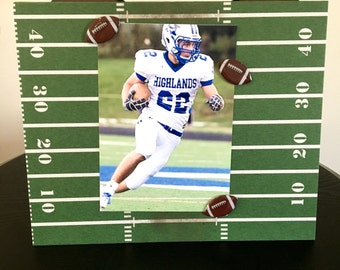 "57d8de29d Football Yard line coach team player college dad fathers day custom gift  handmade magnetic picture frame holds 5"" x 7"" photo 9""x 11"" size"