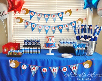 PRINTABLE PARTY PACKAGE Blue Red and White Baseball Party Package - 72 dollar value for only 35 dollars - Memorable Moments Studio