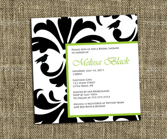 INVITACIÓN imprimible Damasco blanco y negro elegante