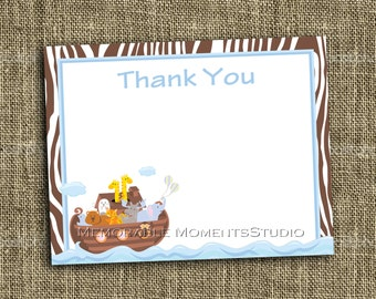 "INSTANT DOWNLOAD - Printable 5.5""x4.25"" flat Thank You Cards - WOOD Noah's Ark Collection - Memorable Moments Studio"