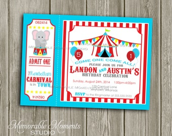 PRINTABLE INVITATIONS Carnival or Circus Party Celebration - Birthday Party - Red White and Blue Backgrounds - Memorable Moments Studio