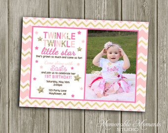PRINTABLE INVITATIONS Twinkle Twinkle Little Star Party Invitation - Memorable Moments Studio