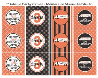 PRINTABLE PARTY CIRCLES Little Trucker Party Collection - Memorable Moments Studio