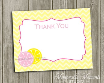 "INSTANT DOWNLOAD - Printable 5.5""x4.25"" flat Thank You Cards - Pink Lemonade - Memorable Moments Studio"