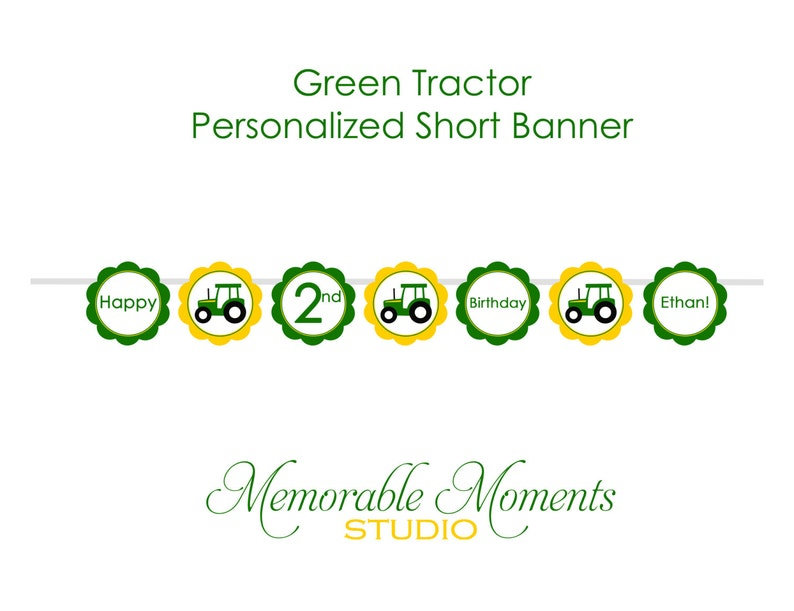 PRINTABLE BANNER Green Tractor Party - Happy Birthday Banner - Country Boy  or Farm Party - Memorable Moments Studio