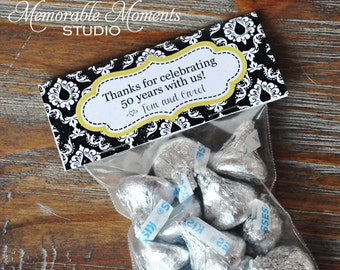 PRINTABLE CANDY BAG labels Black and White Damask 50th Wedding Anniversary - Memorable Moments Studio