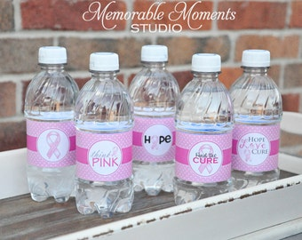 INSTANT DOWNLOAD Printable Water Bottle Labels - Pink Ribbon - Breast Cancer Awareness - All 5 Designs Included - Memorable Moments Studio