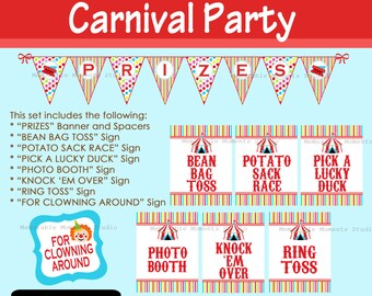INSTANT DOWNLOAD Printable Game Signs and PRIZES Banner for Colorful Carnival or Circus - Memorable Moments Studio