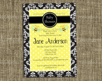 Damask Mommy-to-Bee Shower Invitation - Custom Printable - Memorable Moments Studio