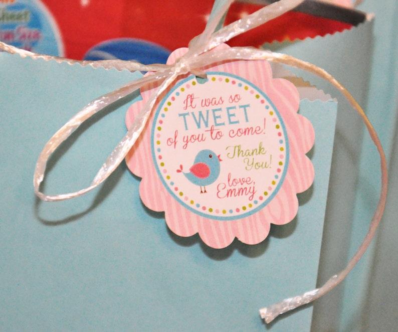 PRINTABLE FAVOR TAGS Tweet Bird or Little Birdie  Birthday image 0