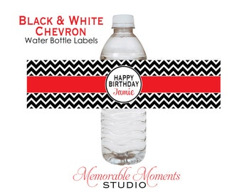 PRINTABLE WATER BOTTLE labels Black and White Chevron with Red Party - Memorable Moments Studio