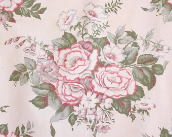 Pink Cabbage Rose Floral Pattern Vintage Retro Farmhouse Cottage Bungalow Fabric